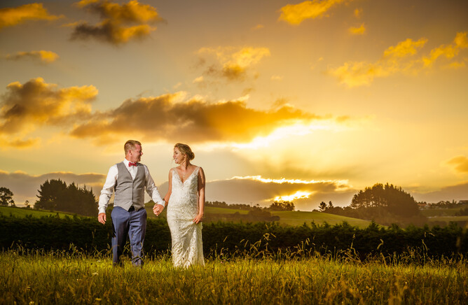 Bride & Groom at sunset